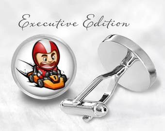 Go Kart Cufflinks - Karting Cufflinks - Go Kart Racing Cuff Links (Pair) Lifetime Guarantee (S0801)