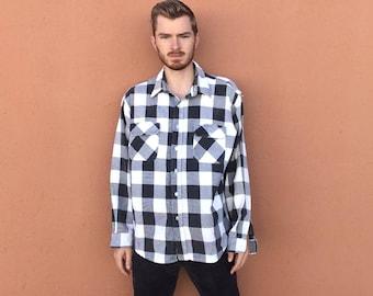 80s Thick Buffalo Plaid Flannel Shirt sz XL ~ Vintage White & Black Heavyweight Cotton ~ Shepherd's Check Shadow Plaid ~ Grunge ~ Size XL