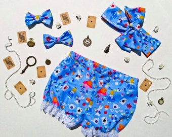 Disney Alice in Wonderland Romper Shorts- Headwrap -Bows