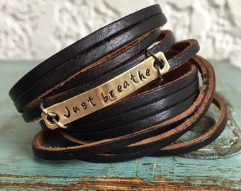 Just Breathe, Leather Wrap Bracelet, Shredded, black soft leather, brass plate double wrap, adjustable