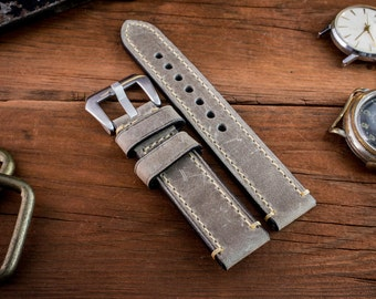 Gray genuine crazy horse leather watch strap (20mm) + watch pins & tubes, watch strap, watch band, wrist band