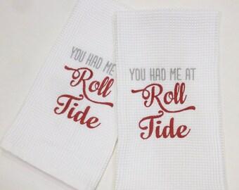 Alabama ROLL TIDE Linen Hand Towel, Hemstitching detail.  Great gift Idea!!