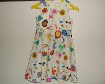 Funny animals on lemon dress