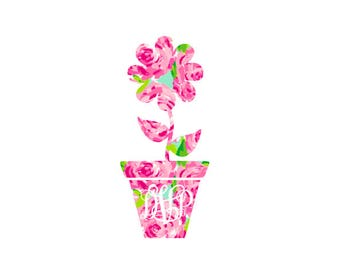 Monogram Flower in a Flowerpot Custom Preppy Pattern Decal!  Perfect for a Car Decal, Nursery Decor, Home Decor, Bedroom Decor!