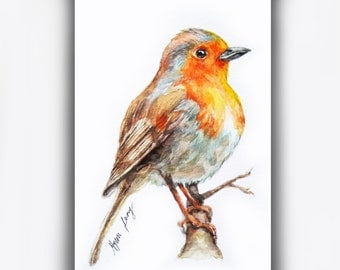 Original Aceo Robin Watercolor Painting, Bird Art Card, Miniature Animal Art, Small Bird Painting, Whimsical Bird ACEO, Bird lover Gift