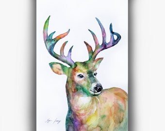 "Whitetail Deer Watercolor Painting, Original Deer Art 6× 9"" Woodland Animal Illust, Colorful Watercolor, Ooak Wall Art, Modern Fine Art"