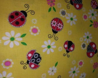 """Ladybug With Daisy and Glitter Printed Fabric End of Bolt 27"""""""