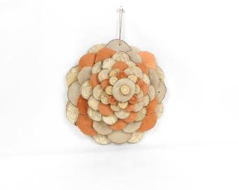 decorative wood wall sculpture, flower slices of wood, decorative hanging wall