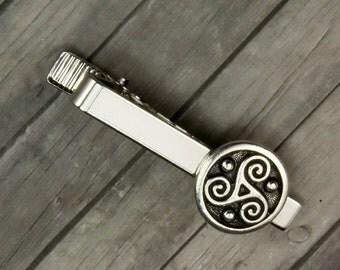 Triskele Tie Clip - Triskele Tie Bar - Celtic Tie Clip - Celtic Tie Bar - Mens Accessory - Valentines Day - Gift for men - Triskele - Celtic
