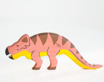 Wooden Protoceratops toy Dinosaur figurine Play Set for boys Pre-historic animals Pretend play Learning toys for toddlers