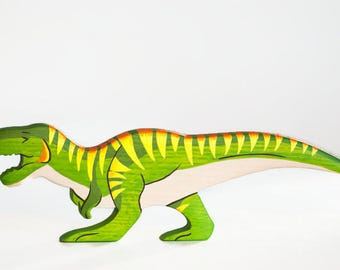 Wooden T rex toy Dinosaur figurine Play Set for boys Pre-historic animals Pretend play Learning toys for toddlers
