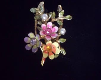 Wishbone Brooch/Pin By Coro Enameled FLowers Rhinestones Faux Pearls FREE SHIPPING