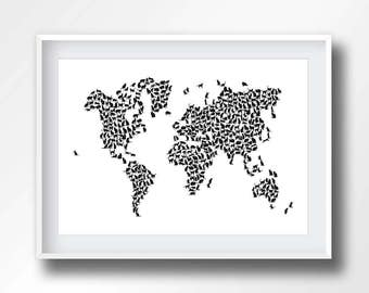 WORLD MAP CATS, map of the world, cats, kitty, black and white, feline, cartography, 6008