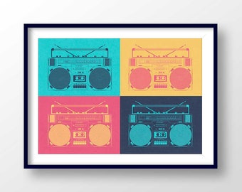 BOOMBOX poster, retro boom box, 80s print, music printable, old school cassete, vintage stereo, hip hop illustration, ghettoblaster, #2142