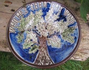 Slipware bowl, Oak Tree illustration, Earthenware bowl, Welsh pottery, Hand thrown