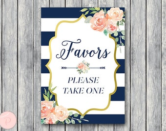 Navy Favors Sign, Wedding Favor sign, Shower Favors sign, Engagement party favor sign, Printable sign, Wedding decoration sign TH74.1