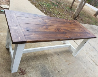 Rustic Two-Tone Distressed Farmhouse Table that Ships To Your Door