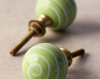 Lime Green Knob with White Swirl Cabinet Knob (Sold In Set of 3)