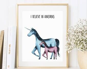 I believe in Unicorns, Einhörner, Einhorn, Poster, Fineart Druck, Kunstdruck, Illustration, Zeichnung, Interior Design, Wandgestaltung, Deko