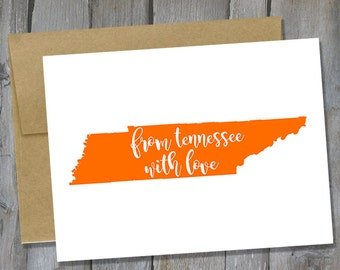 Customizable From Tennessee With Love Notecard Set of 12 - Tennessee Note Card Set - Stationary Set