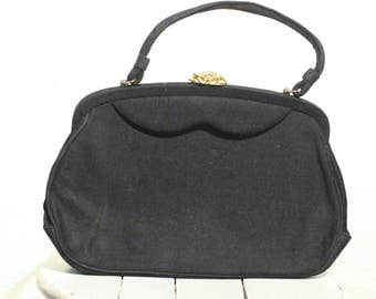 Vintage Black Purse with Gold Clasp