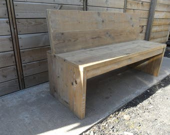 Reclaimed Scaffolding Board Bench with backrest