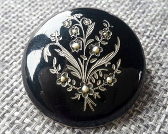 This is a beautiful quality antique victorian silver enamel and seed pearl brooch