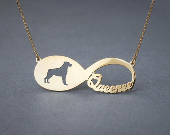 14k Solid Gold Personalised INFINITY ROTTWEILER Necklace - 14k Gold Rottweiler Necklace - Name Necklace