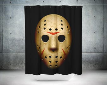 Jason Voorhees Shower Curtain | Horror Movie Decor | Jason Mask | Horror Shower Curtain | Horror Movie Gift | Friday the 13th