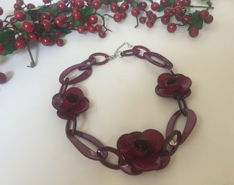 Plastic flower statement necklace