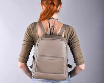 Beige Leather backpack - Cooper
