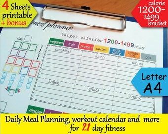 21 day Fitness  1200 Calories Tracker, Grocery List, Workout Calendar, Food journal and more Easy to Use 21 day planner- Instant Download