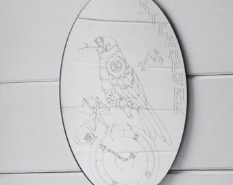 Steampunk Engraved Raven & Pocket Watch Oval Acrylic Mirror