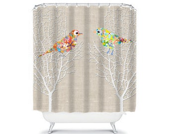 shower curtain, bathroom decor, beige shower curtain, home living bathroom accessories housewares mint shower curtain birds bath curtain