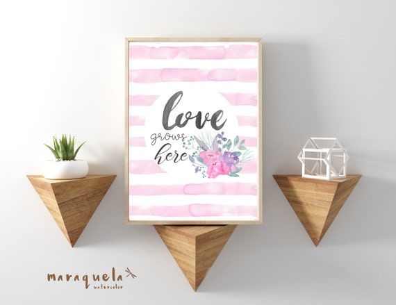 LOVE GROWS HERE Original Watercolor stripes, lettering and flowers handmade. Modern decoration, Wall Art romantic Quote Decor artprint text