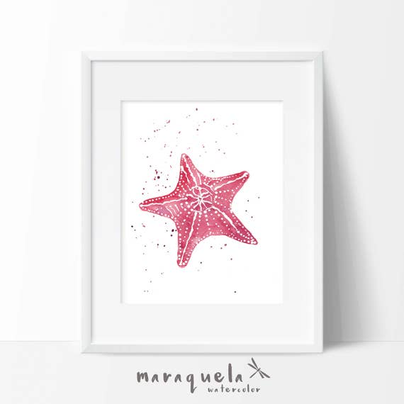 STARFISH illustration in Watercolor,home decor. Decoration ideas bath, beach, sea, homedecor, marine life, gift , dark pink colors wall art