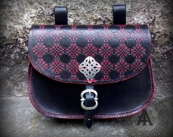 Black and Red Medieval Belt Purse with Celtic Knot