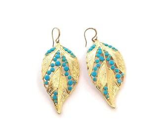 Goldtone Leaf W/ Light Blue Plastic Stone Teardrop Earrings