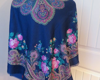 """Vintage ITALY Floral PAISLEY Wrap SHAWL, Large, Blue/Green/Pink, 47"""" x 47"""" (#843)"""