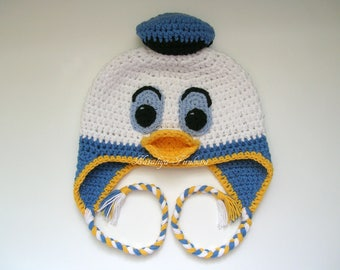 Donald Duck Inspired Beanie/Donald Duck Hat/ Donald Duck/Baby boy hat/photo prop/crochet duck hat/baby shower gift/disney donald duck hat