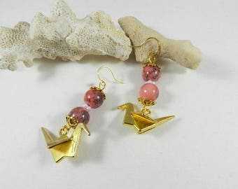 Earrings rose gold earrings hand made designer jewelry, origami birds, handmade