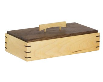 Elegant Storage Box made from Rock Maple and Black Walnut.