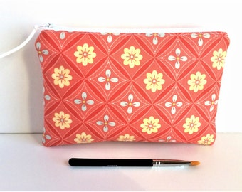 Floral Zipper Pouch - Zipper Pouch - Gift for Her - Toiletry Pouch - Small Cosmetic Bag - Pencil pouch - Small Makeup Bag