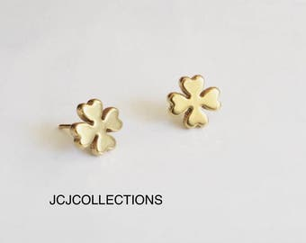 Tiny Clover Earrings, Dainty, Simple