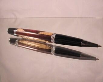 Sierra chrome pen. Cocobolo, amaranth and maple wood.