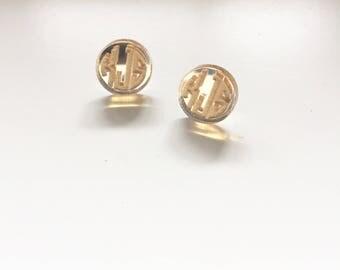 Monogram Earrings - Gold Monogrammed Earrings - Monogrammed Earrings
