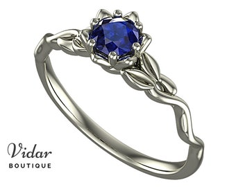 Flower Engagement Ring,Unique Engagement Ring,diamond Engagement Ring,Leaves,Blue Sapphire Engagement Ring,floral,swirl,White gold Ring