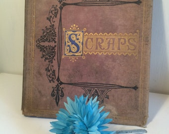 Scraps Album with Fine Art Pictures Ships and Scenery - Vintage Scrap Book