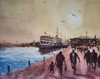 Ferry, Istanbul Watercolor Painting Art Print