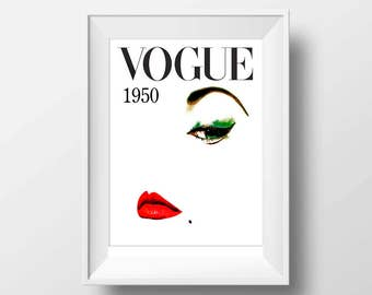 Vogue magazine cover art print, Printable art instant download